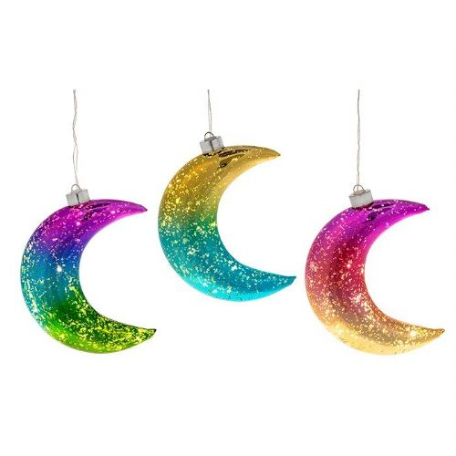 Two and Three Tone Glass LED Light Up Illuminated Moons